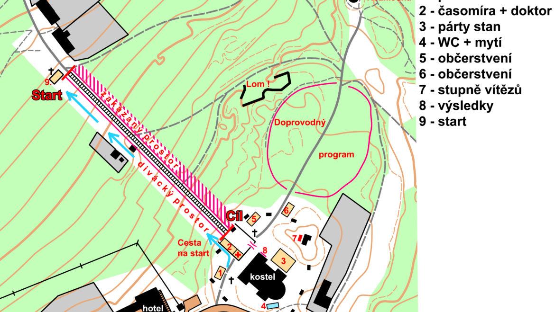 Plánek centra závodu Cvilínské schody 2019